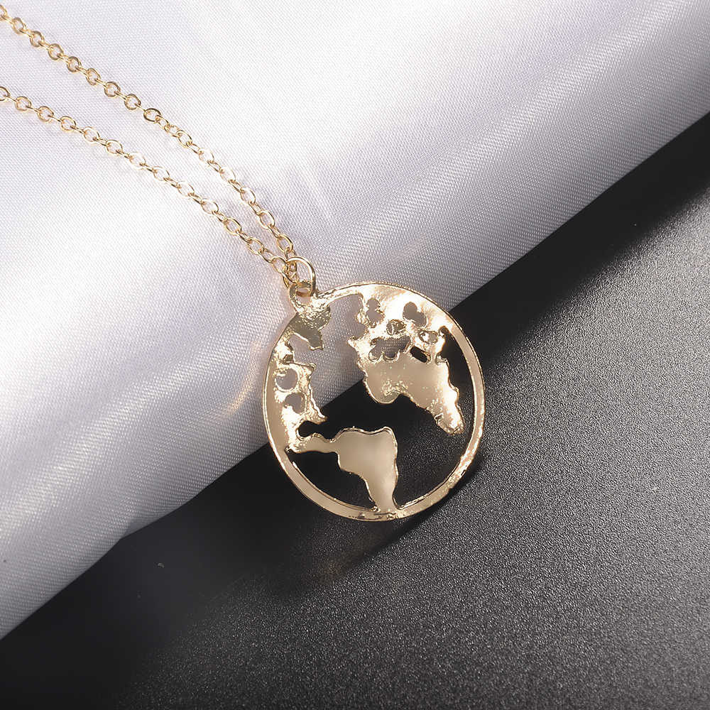 2019 New Fashion World Map Pendant Necklace Round Hollow Charm Collar Women Fashion Jewelry Gift
