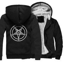 Pentagram sweat shirt à capuche épais pour homme, gothique, Satan, Satan, crâne de chèvre, manteau en coton, chaud et ample, pour hiver, vestes à glissière