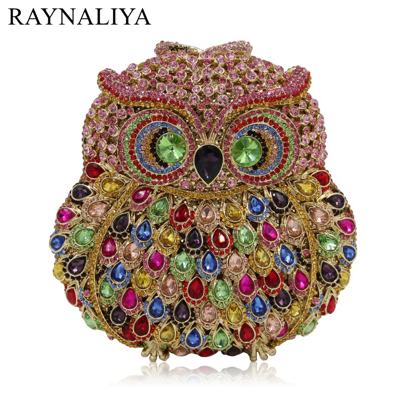 Owl Hollow Out Luxury Crystal Clutches Bags Animal Chain Shoulder Bag Party Evening Purse Bride Wedding Clutch Bag Smyzh-e0235 gold plating floral flower hollow out dazzling crystal women bag luxury brand clutches diamonds wedding evening clutch purse