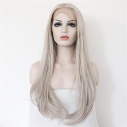 Sylvia серебро Серый цвет естественная волна Синтетический Синтетические волосы на кружеве Искусственные парики термостойкие Волокно