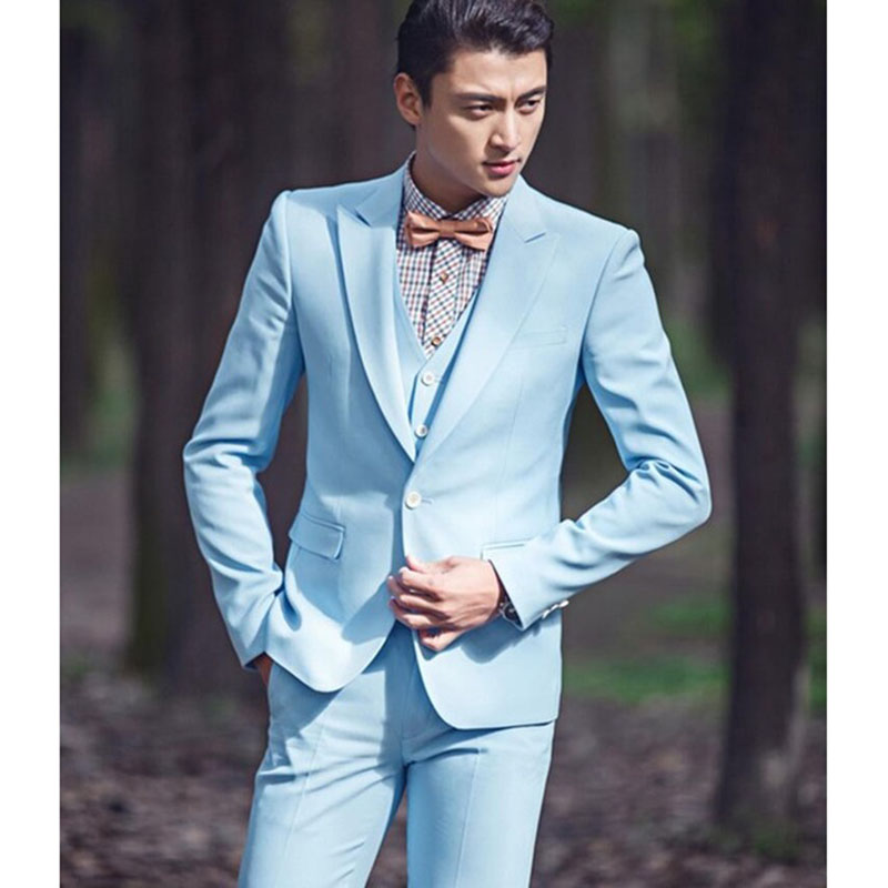 Classic Style One Button Sky Blue Groom men suit Tuxedos Groomsmen ...