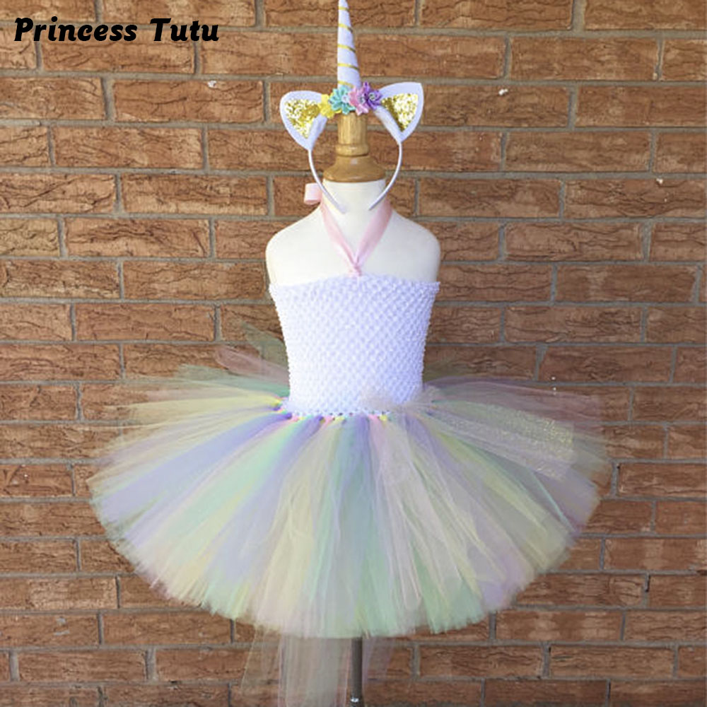 Bustle Unicorn Girl Birthday Party Tutu Dress Pastel Rainbow Baby Girls Pony Cosplay Costume Tutu Dresses with Headband 1set baby girl polka dot headband romper tutu outfit party birthday costume 6 colors