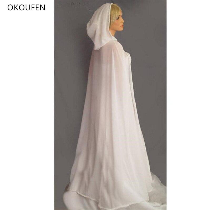 Wedding Cloak Bolero Women Vintage Bridal Capes Cap Coat Long Chiffon Chaqueta Hood Wedding Accessories Capa Abiti Da Cerimonia