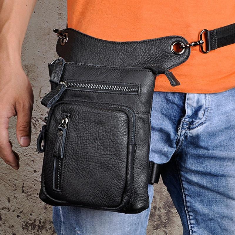 Fine Jewelry Leather Men Design Casual Messenger Shoulder Mochila Bag Fashion Multifunction Waist Belt Pack Drop Leg Bag Tablet Pouch 211-12c