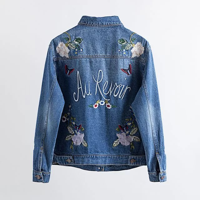 2017 New Fashion Autumn Winter Women Jeans Bomber Jackets Lady Luxury Floral Embroidery Long Sleeve Turn-down Collar Denim Coats