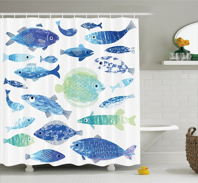 Modern Arts Shower Curtains Ocean Animal Fish With Wave Lines And Sky Cloud  Motifs Marine Printing
