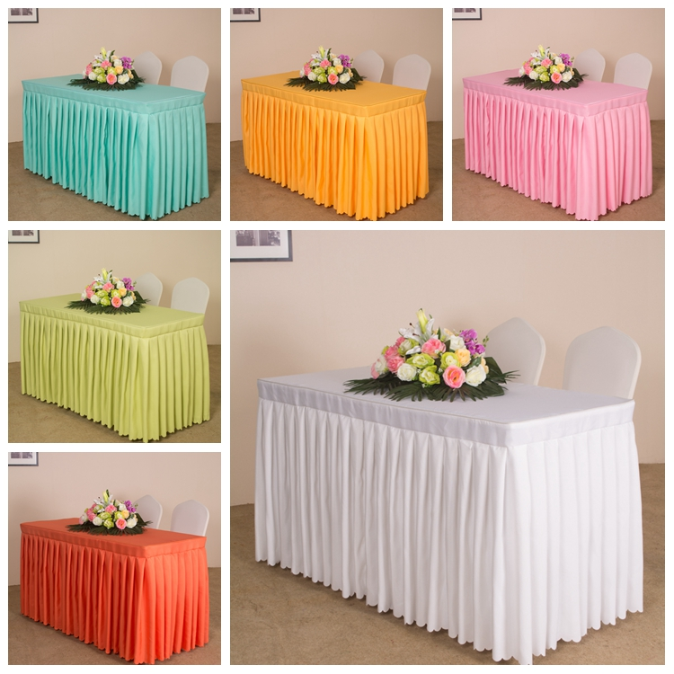 1PC Customized White/Red/Black 21 Colors Solid Plain Polyester Wedding Candy Table Cloth Cover Conference Reception Table Skirt