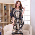 Novelty Print Black Female Satin Robe Dress Nightgown Novelty Women's Kaftan Bath Gown Summer Lounge Homewear Plus Size 6XL