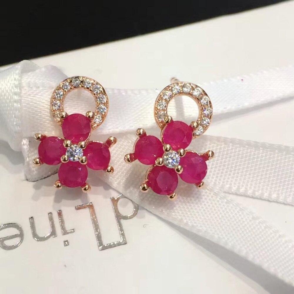2017 boucles d'oreilles Qi Xuan_Free Mail rouge pierre élégante fleur boucles d'oreilles _rose or couleur mode boucles d'oreilles _ fabricant directement ventes