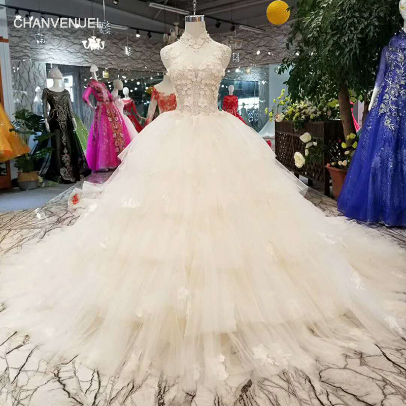 Brilliant Colored High-end Sleeveless Sexy Wedding Dress Crystal Cake Layer Ball Gown Bridal Gwons 2019 Vestido De Noiva Serene Hill Discounts Price Weddings & Events