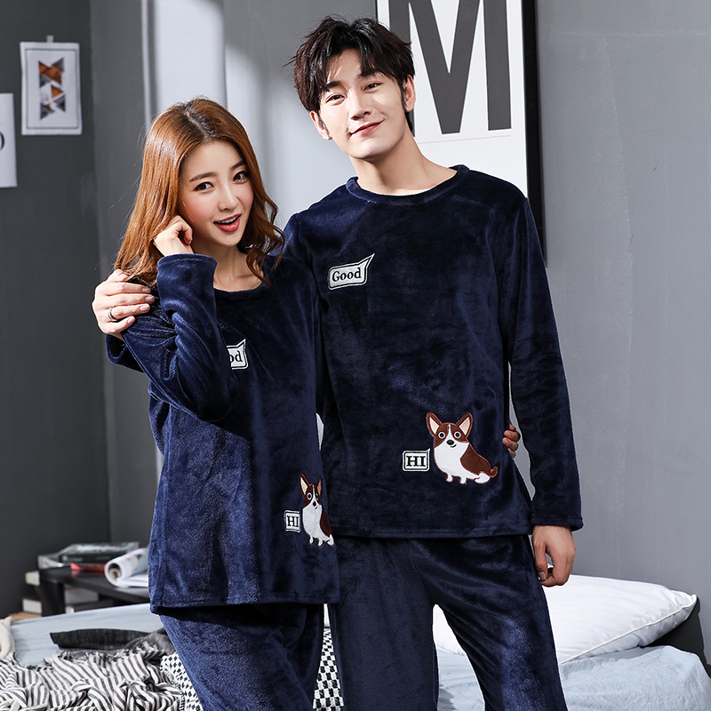 Winter Couple Cartoon Coral Velvet Pajamas Set Women Long Sleeve Plus Thick Warm Flannel Large Size Pyjamas Sets Home Suits 1803