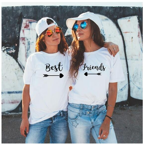 US $7 9 16% OFF|best friends T Shirt Tumblr Couples BFF Bestie Tee Best  Friend Matching Tops Bestie Gift Best Sister Tee Camisetas-in T-Shirts from