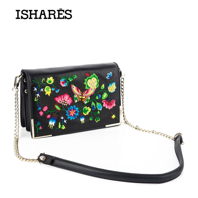 2017 ISHARES genuine sheep leather crossbody chain bags embroidery chinese style bags ladies lambskin national handbags IS9901