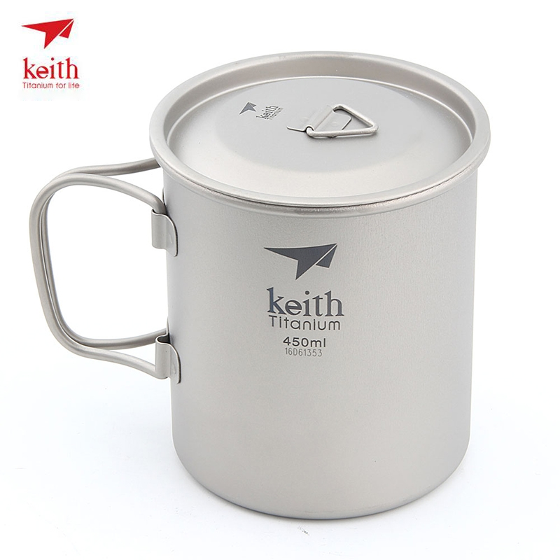 Keith Titanium Mug Folding Handle Single Wall Cup Outdoor Camping Travel Hiking Drinkware Cups With Titanium Lid 220ml-900ml cup