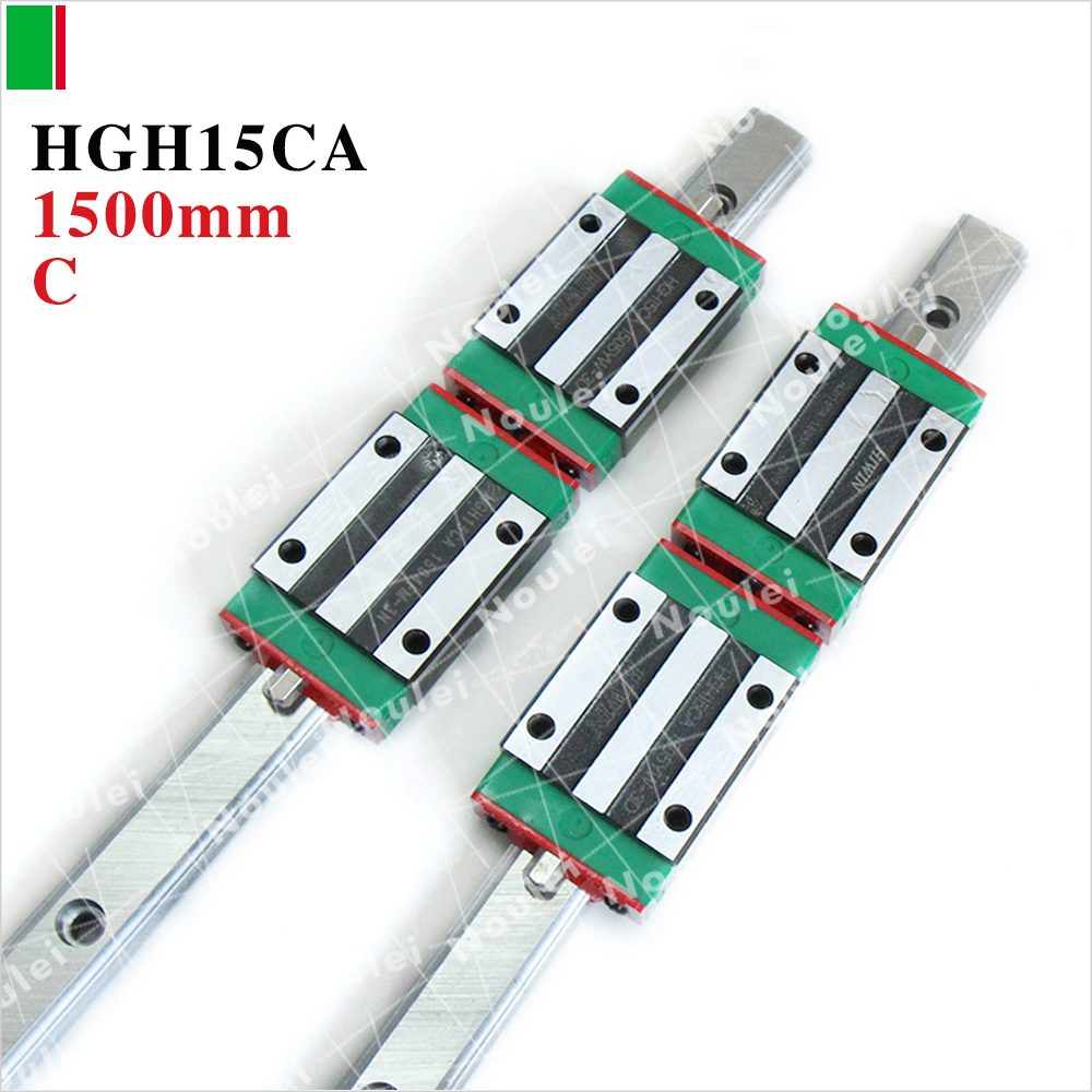 HIWIN Linear guide rail cnc,2pcs HGR15 1500mm linear rail+4pcs HGR15 Guide Block HGH15CA cnc hiwin hgr15 1700mm rail linear guide from taiwan