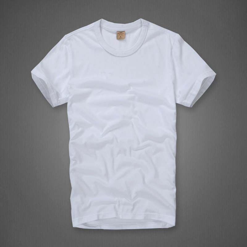 Beckham Plain white round neck T shirt men short sleeve summer ...