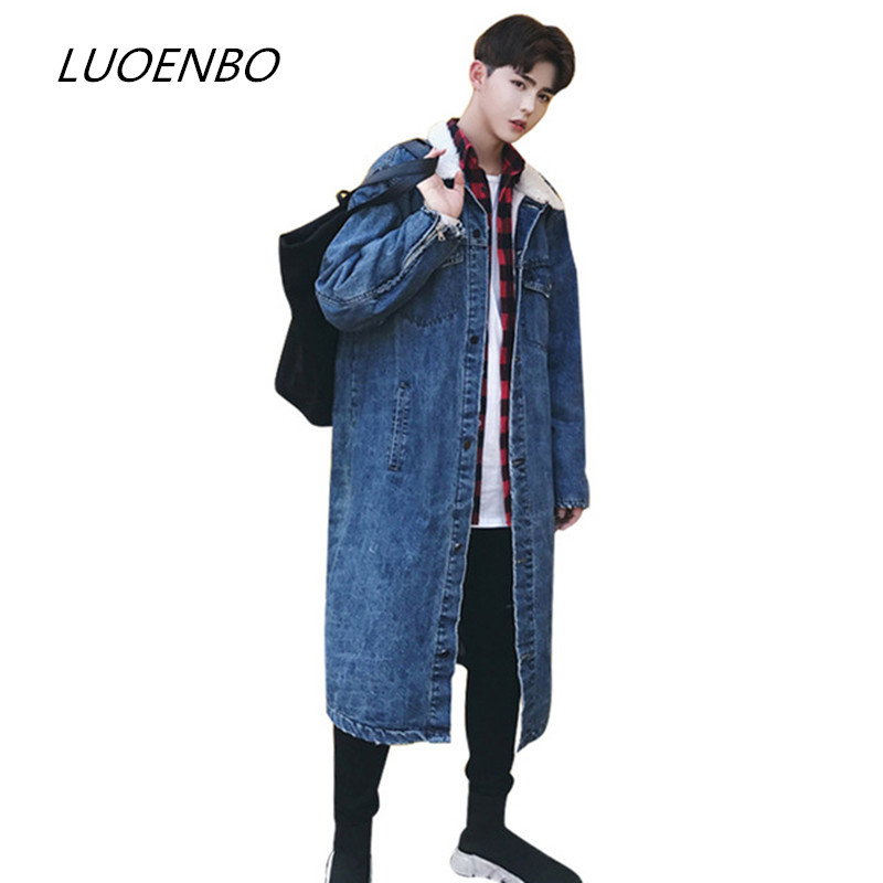 The New 2018Men of high street Hip Hop denim jacket autumn winter fashion casual cardigan long often windbreaker track suit coat