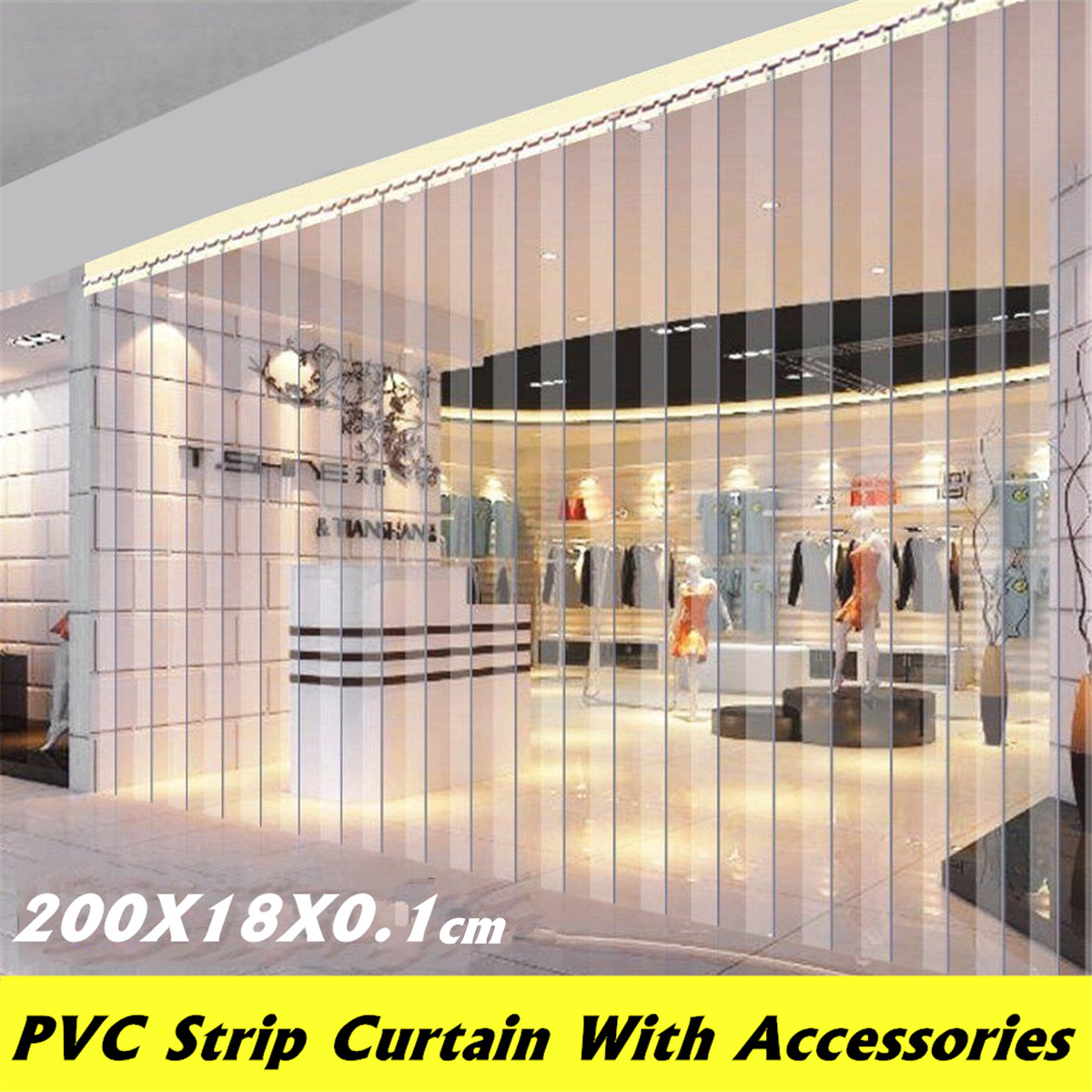 PVC Plastic Strip Curtain Freezer Room Door Strip Kit Hanging Rail Transparent Curtains Windproof Heat Cold Resist 200*18*0.1cm
