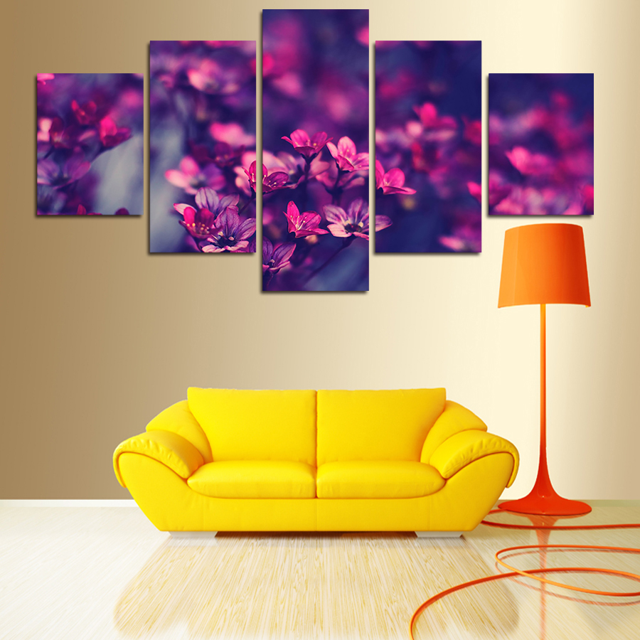2017 5 Panels Modern Printed Purple Flowers Painting Wall Art ...