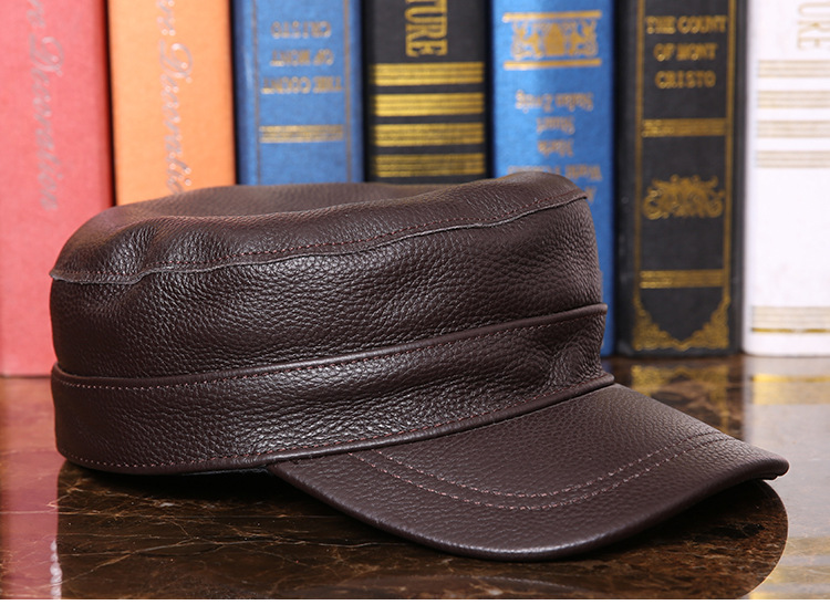 Outdoor natural leather cap (9)
