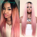 Pink wig ombre synthetic wigs  sexy female long haircut cheap wigs synthetic Natural looking women wig cosplay wholesale