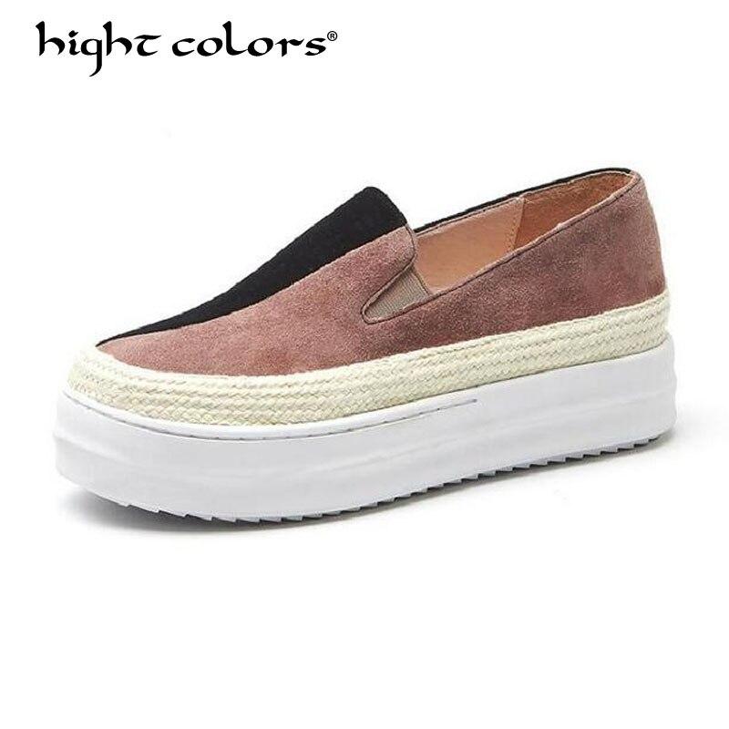 32 ~ 43 taille printemps 2019 femme Espadrilles enfant daim cuir plate-forme chaussures femme sans lacet plate-forme femmes appartements mocassins HC6-89