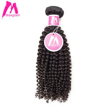 Maxglam Malaysian Afro Kinky Curly Human Hair Weave Bundles Natural Color Remy Hair Extension Free Shipping(China)