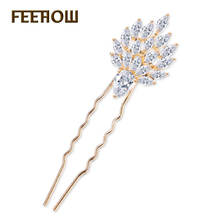 FEEROW Marquise Zircon Stackable Hair Jewelry Bride Wedding Headpieces Exquisite Hairpins For Women FWHP032