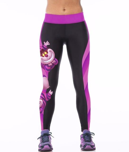 NUEVO 0010 Mujeres Sexy Girl Alice in Wonderland gato de Cheshire 3D Impresiones de Alta Cintura Entrenamiento de Fitness Leggings Pantalones