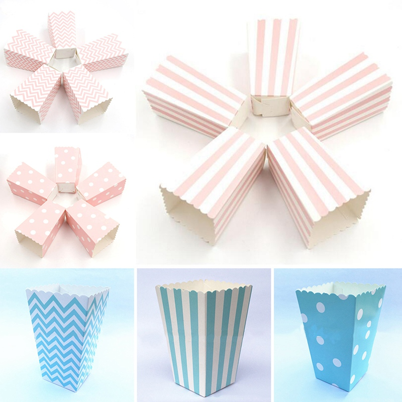 12 Pcs/Set Striped White Spots Stiff Paper Mini Party Popcorn Boxes Pop Corn Candy Sanck Favor Bags Wedding Birthday Movie Party image