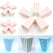 Sanck Popcorn-Boxes Favor-Bags Paper Corn-Candy Wedding Birthday Party White Mini Striped