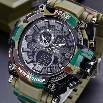 SBAO Camouflage Army Military Watch Men Top Brand Luxury Electronic LED Digital Sport Watches For Male Clock Relogio Masculino