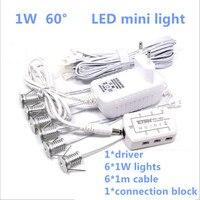 Hot sale! 6pcs/set with driver 1W/pcs LED mini spot light LED ceiling lamp cupboard cabinet light Downlight free shipping