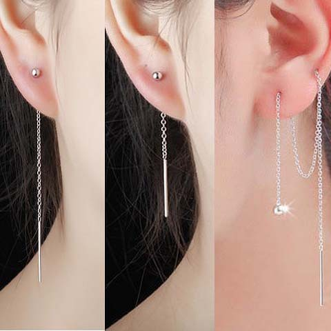 1pair 925 Sterling Silver Line Thread Threader Dangle Earrings Tassel Wire Bars Bead Rolo Chain Earrings Long Length GTLE385