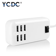 YCDC for iPhone Charger 6 Ports US EU UK Plug USB Socket Hub Home Wall AC Travel Power Adapter Power Switch USB Charger
