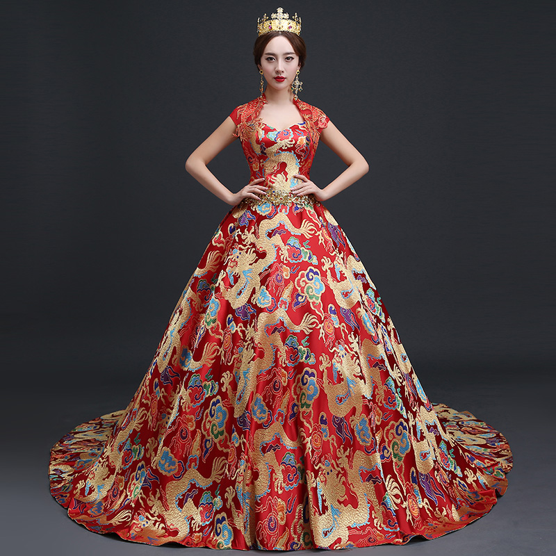 Luxury royal wedding events chinese style dress oriental for Chinese style wedding dress