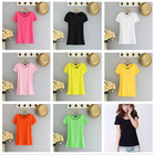 New 2017 Women's Clothing Summer Tops 8Kinds U-neck Short Sleeve T-shirts Tee Black And White Cheap Tops Casual T-shirt