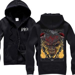 Image 4 - 30 disegni Slayer Cotone soft Rock con cappuccio giacca shell punk heavy metal della chiusura lampo felpa in pile sudadera Cranio Tuta Sportiva