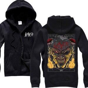 Image 4 - Sudaderas con capucha de algodón Slayer de 30 diseños, chaqueta de concha punk de metal pesado con cremallera, sudadera de forro polar, prendas de exterior con calaveras