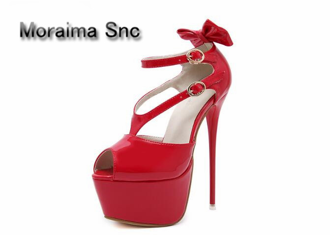 Moraima Snc gladiator sandals women red black Patent leather sexy summer pumps peep toe 16 cm high heels shoes women butterfly shoesofdream women s 2015 summer peep pointed toe red anke strap patent leahter sexy spike high heels