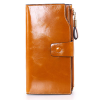 ONEFULL New High Quality Women Oil Wax Leather Purse Wallet Long Leather Lady Credit Card Holder