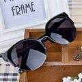 Горячая Vintage Cat Eye Солнцезащитные Очки Женщины Марка Дизайнер Полуободковые Очки Ретро Солнцезащитные Очки óculos де грау