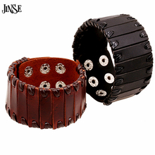 JINSE 2017 Vintage Men Jewelry Black and Brown Wide Cuff Leather Bracelet Adjustable Handmade Fashion Punk Wristband HQ074