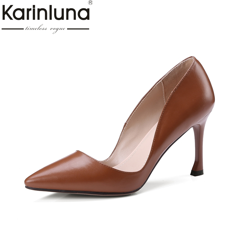 Karinluna 2018 Top Quality Brand Shoes Woman Sexy Thin High Heels Genuine Leather Party Wedding Shoes Pumps Women цена