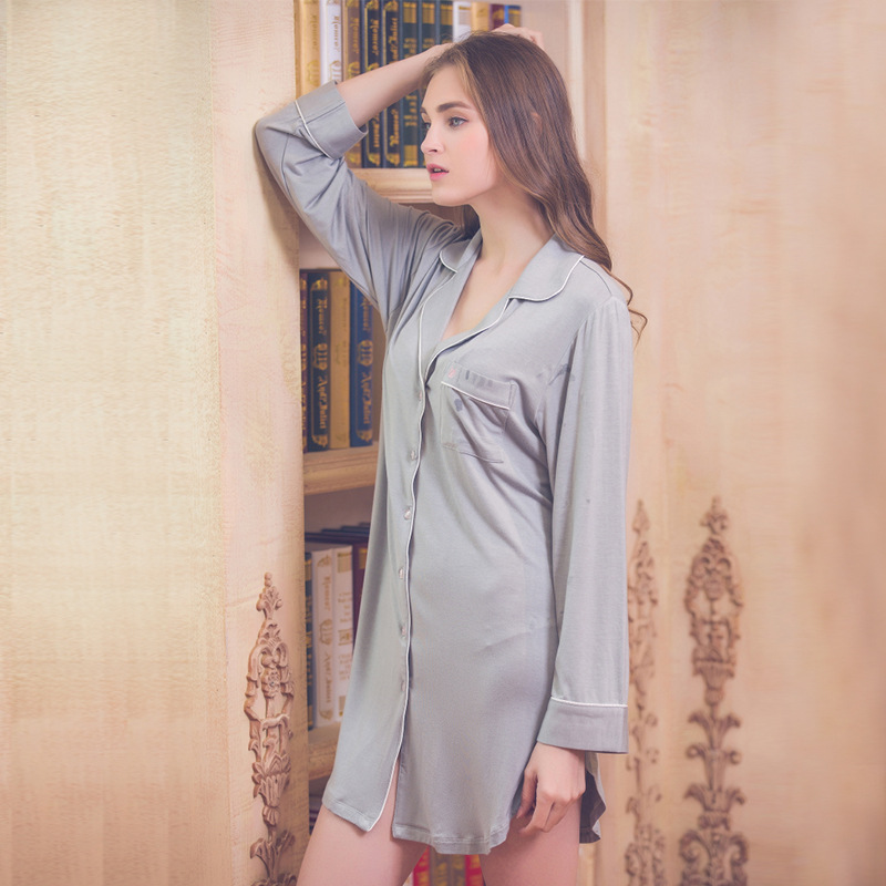 Womens Sleep Shirt Dress Modal Night Shirts Long Sleeves -6627