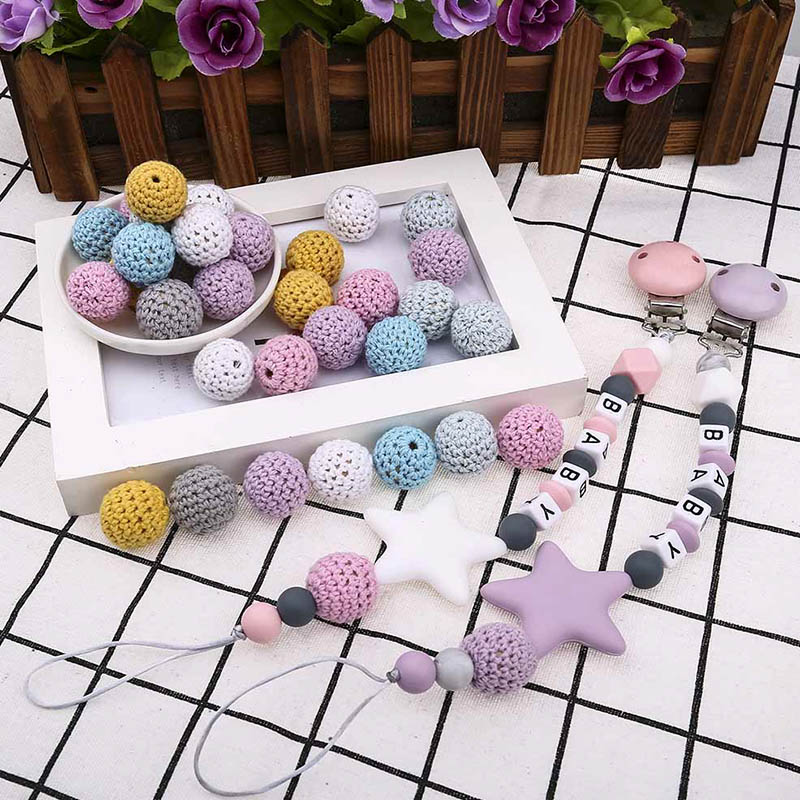 20mm DIY Crochet Beads Baby Teething Necklace Pacifier Anti-Drop Chains Accessories Baby Care Teether