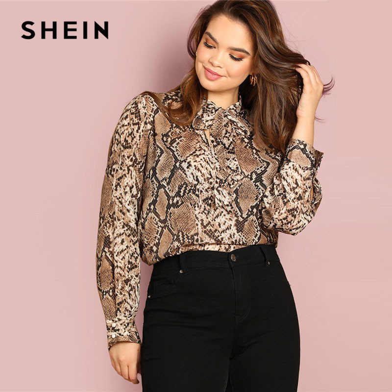 SHEIN Plus Size Tie Neck Snake Skin Print Women Blouses Office Lady Long Sleeve Elegant Spring Autumn Workwear Tops And Blouses 1