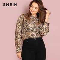 Shein plus size gravata pescoço cobra pele impressão mulheres blusas senhora do escritório manga longa elegante primavera outono workwear tops e blusas