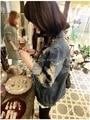 Новое поступление 2015 весна-корейски женская одежда джинсовая пальто мода старинные мыть отверстие классический джинсовый жакет ковбой верхняя одежда S ~ XL