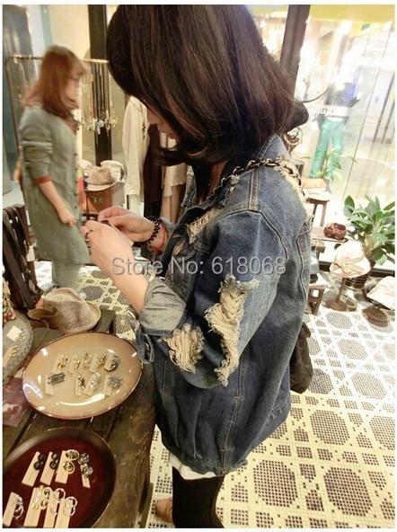 Nueva llegada 2015 estilo coreano de las mujeres ropa de abrigo de mezclilla moda Vintage Washed agujero clásico Denim Jacket Cowboy abrigos S ~ XL